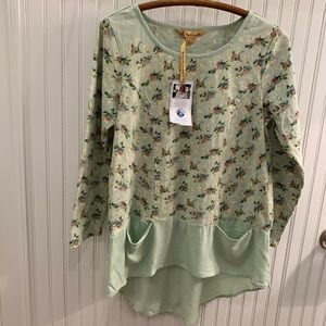 NWT April Cornell tunic pale green and flowers